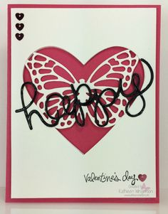 Faux Laser Cut card made with the Butterflies Thinlits dies, the Hello You Thinlits dies, and the Hearts Collection Framelits dies from Stampin Up by Kathleen Wingerson    www.kathleenstamps.com