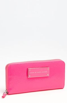 MARC BY MARC JACOBS 'Take Me' Zip Around Wallet Fluoro Pink One Size
