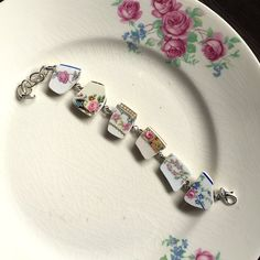 Vintage China, Antique China, Broken China Crafts, Broken China Jewelry, Bracelet Making, Jewelry Making, Gifts For My Wife, Beautiful Earrings, Link Bracelets