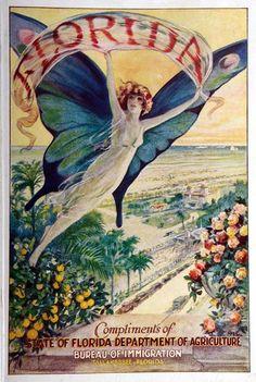 vintage Florida Bureau of Immigration poster Old Florida, Vintage Florida, Florida Maps, Florida Travel, Vintage Advertisements, Vintage Ads, Graphics Vintage, Vintage Comics, Vintage Photos