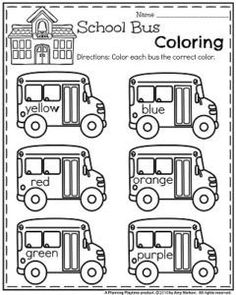 Back to School Preschool Worksheets – School Bus Coloring. Back to School Preschool Worksheets – School Bus Coloring. Preschool Curriculum, Preschool Lessons, Preschool Classroom, Preschool Worksheets, Preschool Learning, In Kindergarten, Preschool Activities, Spanish Activities, Vocabulary Activities
