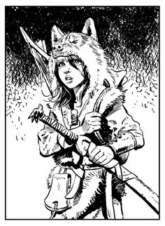 Louve masque de loup Thorgal arc jeune fille