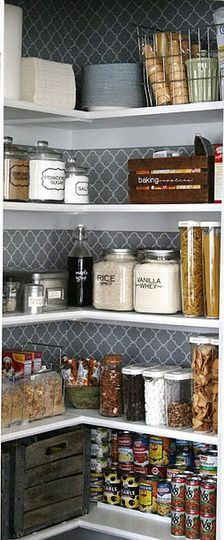 Neat & Tidy Pantry Shelves. Love the shelf style and the patterned wall behind them!