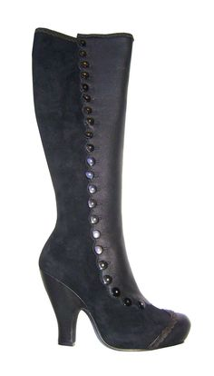 Miss L Fire Cecilia Black Leather Zip Up Boots with Button Detailing | Trashy Diva