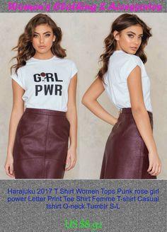 Harajuku 2017 T Shirt Women Tops Punk rose girl power Letter Print Tee Shirt Femme T-shirt Casual tshirt O-neck Tumblr S-L