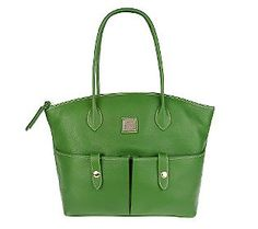 This is my favorite spring purse I carry.  I love the front pockets and short handles. It's a Dooney and Bourke Leather Crescent Kelly Green Tote.