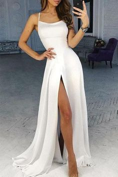 Sexy Evening Dress Chiffon White Split Evening Dress 2019 Formal Gowns # More from my siteSexy Mermaid Long Sequined Split Prom Dresses,Evening DressCute Prom Dress, Elegant Long Prom Dress,Charming. Pretty Prom Dresses, Straps Prom Dresses, A Line Prom Dresses, Prom Gowns, Sexy Dresses, White Long Dresses, Junior Prom Dresses, Dress Prom, Summer Dresses