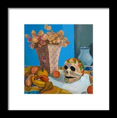 Still Life Framed Print featuring the painting Still Life With Mexican Skull by Carmen Stanescu Kutzelnig Mexican Skulls, Painting Still Life, Hanging Wire, Be Still, Fine Art America, Framed Prints
