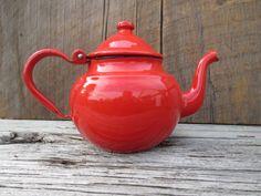 red enamel teapot farmhouse decor vintage by TheBeautifulBarn, $20.00