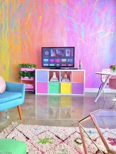 This Woman Has The Most Colorful Apartment You've Ever Seen And Even Unicorns Are Jealous Amina Mucciolo, aka Studio Mucci, is living a colorful life. Room Colors, House Colors, Room Colour Ideas, Room Ideas, Girl Room, Girls Bedroom, Teen Vogue Bedroom, Ikea White Shelves, Colorful Apartment