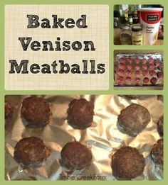 Dinner will be ready in a flash when you make this baked venison meatballs for the meal. Easily substitute ground beef and the recipe still works well Deer Recipes, Wild Game Recipes, Whole Food Recipes, Cooking Recipes, Cooking Tips, Venison Meatballs, Venison Meals, Beef Jerky, Ground Venison Recipes