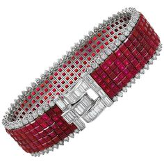 Van Cleef & Arpels Diamond, Five-Row Ruby Mystery-Set Bracelet For Sale Red Jewelry, Sea Glass Jewelry, Luxury Jewelry, Vintage Jewelry, Fine Jewelry, Jewelry Box, Antique Bracelets, Diamond Bracelets, Bangle Bracelets