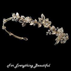 For Everything Genealogy - Light Gold Rhinestone Crystal Floral Offset Wedding Bridal Headband, $140.00 (http://foreverythinggenealogy.mybigcommerce.com/light-gold-rhinestone-crystal-floral-offset-wedding-bridal-headband/)