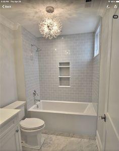 Bathroom Renos, Small Bathroom, Bathroom Ideas, Shower Bathroom, Bathroom Organization, Subway Tile Bathrooms, Accent Tile Bathroom, Metro Tiles Bathroom, Master Bathroom Tub