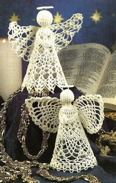 Y093 Crochet PATTERN ONLY 2 Praying Angels Christmas Ornament Dolls