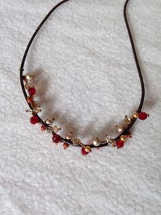 Leather choker with twisted beads