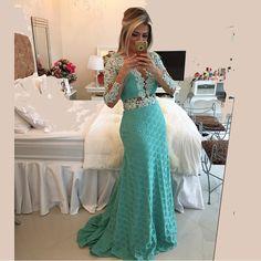 Barato Azul estilo sereia Sexy apliques manga comprida vestido de noite traseira aberta vestidos X 004, Compro Qualidade Vestidos de Noite diretamente de fornecedores da China: