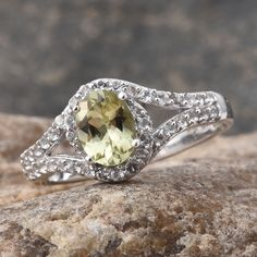 Canary Apatite and White Topaz Ring in Sterling Silver (Nickel Free)