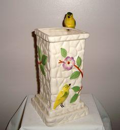 Vintage Kitsch Pottery Floral Bird and Branch Jug/ Vase by Portland Pottery Cobridge PPC by MullardAntiques on Etsy