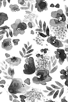 Floret Floral Pattern in Black and White by mjmstudio - Hand painted watercolor flowers in black and white on fabric, wallpaper, and gift wrap. Whimsical black roses and leaves watercolor sketch.
