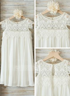 Empire Knee-length Flower Girl Dress - Chiffon/Lace Short Sleeves Scoop Neck With Ruffles (010090574) - JJsHouse