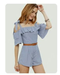To find out about the Blue Striped Ruffle Bow Cold Shoulder Jumpsuit at SHEIN, part of our latest Jumpsuits ready to shop online today! Cute Dresses, Casual Dresses, Casual Outfits, Cute Outfits, Summer Outfits, Girl Outfits, Fashion Outfits, Teen Girl Fashion, Casual Looks