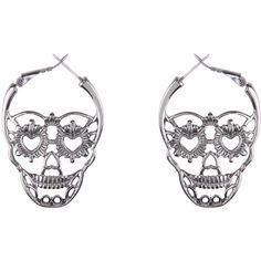 Hematite Sugar Skull Hoop Earrings Hot Topic ($29) ??? liked on Polyvore featuring jewelry, earrings, hoop earring set, hoop earrings, skull earrings, earrings jewelry and hematite jewelry