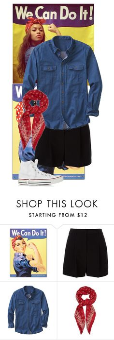 """""""Rosie the Riveter"""" by eb-case ❤ liked on Polyvore featuring DKNY, TravelSmith, Yves Saint Laurent and Converse"""