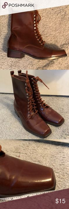 Brown lace up boots size 8.5 Faux leather lace up brown boots, square toe, 1 inch heel, brand made in Brazil, great condition made in brazil Shoes Lace Up Boots