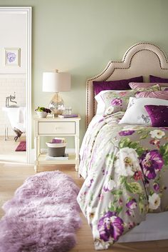 When you're creating your dream bedroom, think about what you want to experience when you get out of bed, too. This lilac Sheepskin Rug from Pier 1 is a real treat for your toes, which will help you start your day on the right foot.