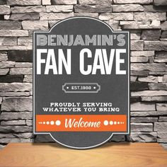 Personalized Fan Cave Tavern Sign