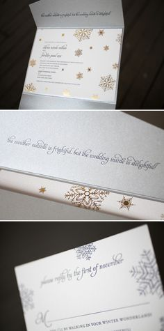 Gold, foil stamped snowflakes look so pretty on this customization of our Alpine design
