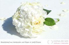 brautstrauss rund hortensien rosen weiss creme