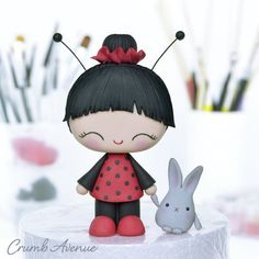 Ladybug Girl Cake Topper by Crumb Avenue Cake Topper Tutorial, Fondant Tutorial, Cake Toppers, Lady Bug, Biscuit, Ladybug Girl, Sugar Craft, Fondant Figures, Little Doll