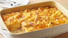 Overnight Egg Muffin Breakfast Casserole -- All the flavors of your favorite breakfast sandwich in a ham, cheese and egg bake that will totally make it into your regular weekend rotation. Overnight Breakfast Casserole, Breakfast Bake, Make Ahead Breakfast, Breakfast Dishes, Breakfast Recipes, Breakfast Ideas, Diet Breakfast, Pillsbury Recipes, Green Bean Recipes