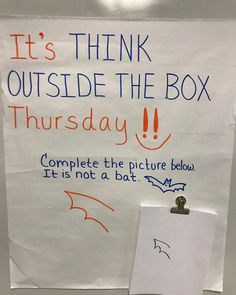 Welcome to Think Outside the Box Thursday! 🙌 Complete the picture. One thing is for sure. It's not a bat!🦇 From Waves of Kindness to… Classroom Fun, Future Classroom, Classroom Activities, Classroom Organization, Classroom Management, Fun Office Activities, Morning Activities, Responsive Classroom, Leadership