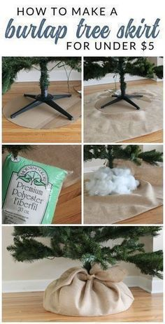 See how easy DIY Christmas Tree Decorating can be. Using a few simple supplies, you can decorate an entire tree for under $30. Follow this tutorial to make a DIY burlap tree skirt and burlap garland. #christmastreedecoration #decoratingachristmastree #christmasdecorationsdiy