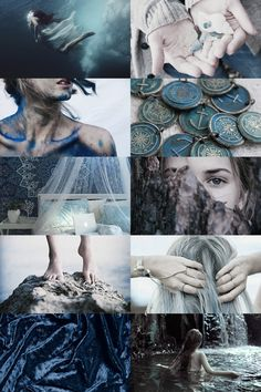 demigods: daughter of poseidon skogsrå Witch Aesthetic, Aesthetic Collage, Character Aesthetic, Blue Aesthetic, Greek Gods And Goddesses, Greek Mythology, Daughter Of Poseidon, Sea Witch, Water Witch