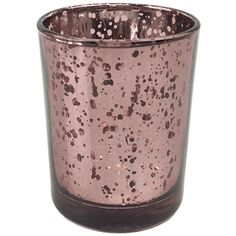 "Mercury Glass Votive Candle Holder 2.75""H Speckled Marsala"