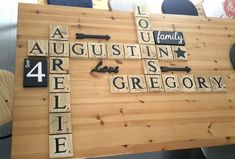 Bamboo Cutting Board, Creations, Scrabble Letters, Painted Letters, Natural Wood