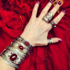 ॐ Brightening up a dismal grey day here in London with a selection of our red jewels ॐ Check out our website for more at www.ohmboho.com ☮ #ohmboho #jewellery #jewelry #bracelet #ring #tibetan #silver #buddha #tiedye #red #boho #bohemian #gypsy #hippy #hippie #ethnic #native