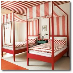 Another red and white room with striped ceiling Bed Sets, Guest Bedroom Decor, Kids Bedroom, Bedroom Ideas, Design Bedroom, Canopy Design, Guest Rooms, Nursery Design, White Bedroom