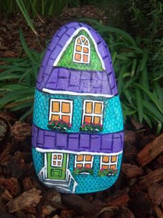 Blue Green Purple Victorian Home Painted River Rock
