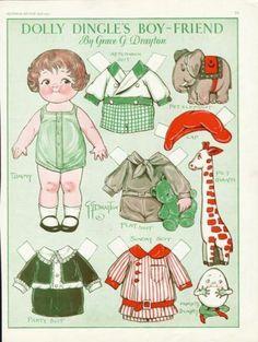 Dolly Dingle Paper Dolls April 1930 Tommy Giraffe Elephant Etc | eBay