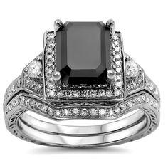 Noori 14k Gold 2 1/3ct TDW Black and Certified Diamond Bridal Ring Set