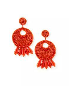 Y3TX6 Kenneth Jay Lane Seed-Bead Tassel Clip Earrings, Coral