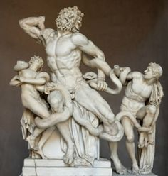 'Laocoon and His Sons' -Ancient Greek art 25BC. White Marble. The statue is attributed to Greek sculptures Agesander, Athenodoros and Polydorus. Currently in Vatican Museums, Rome.