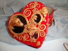 Heart Shaped Box  Mirrors/Polymer Clay by DevalyciousDesigns, $20.00