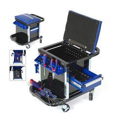 Tool Set for Car Wang Repair Work Stool Workbench Seat. Rolling Tool Box, Metal Tool Box, Metal Tools, Hand Tool Kit, Tool Set, Hand Tools, Garage Workshop Organization, Cheap Tools, Hex Key
