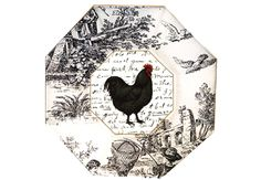Rooster Decoupage Plate on Black and White Toile